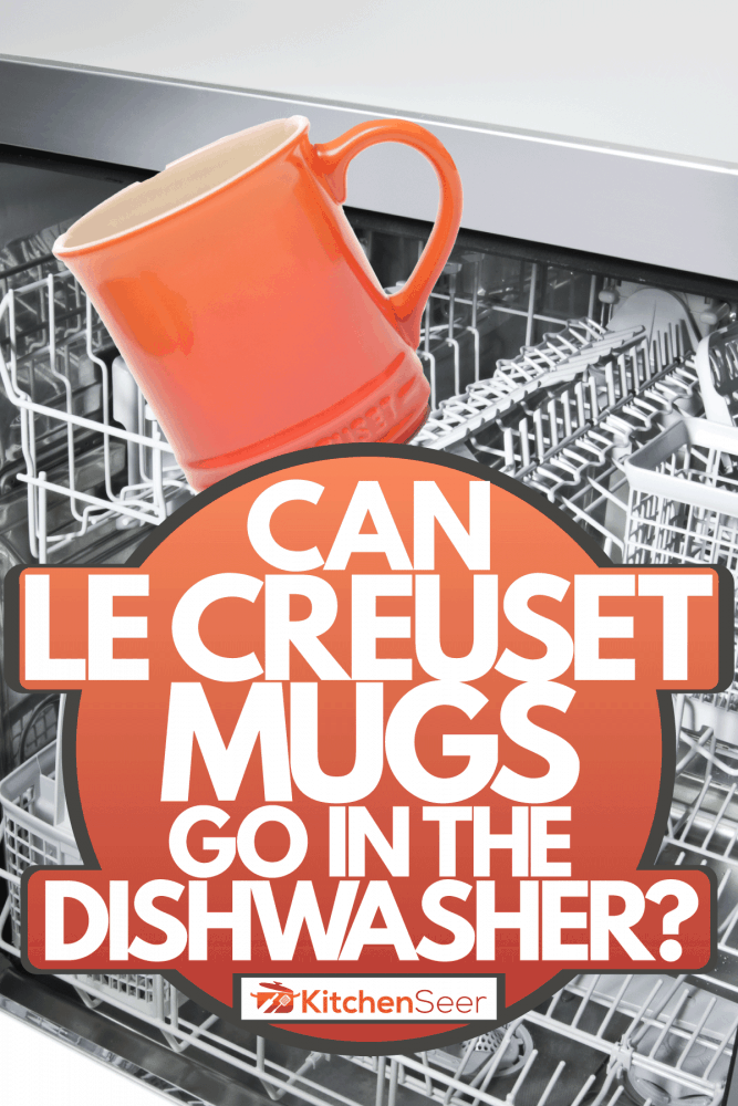 A Le Creuset mug and a dishwashing machine collage photo, Can Le Creuset Mugs Go In The Dishwasher?