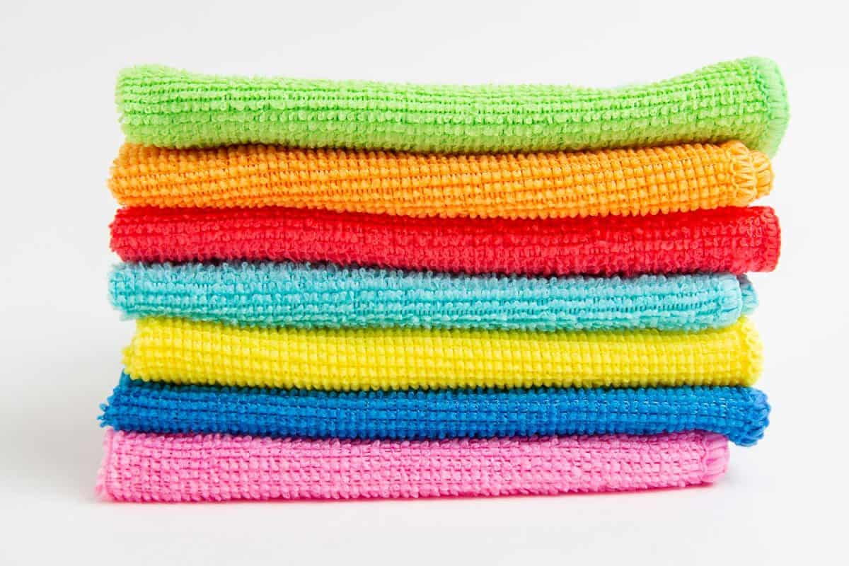 Colored microfiber cloths on a white background