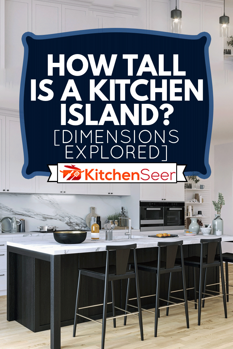 Picture of modern black and white kitchen with kitchen island, How Tall Is A Kitchen Island? [Dimensions Explored]