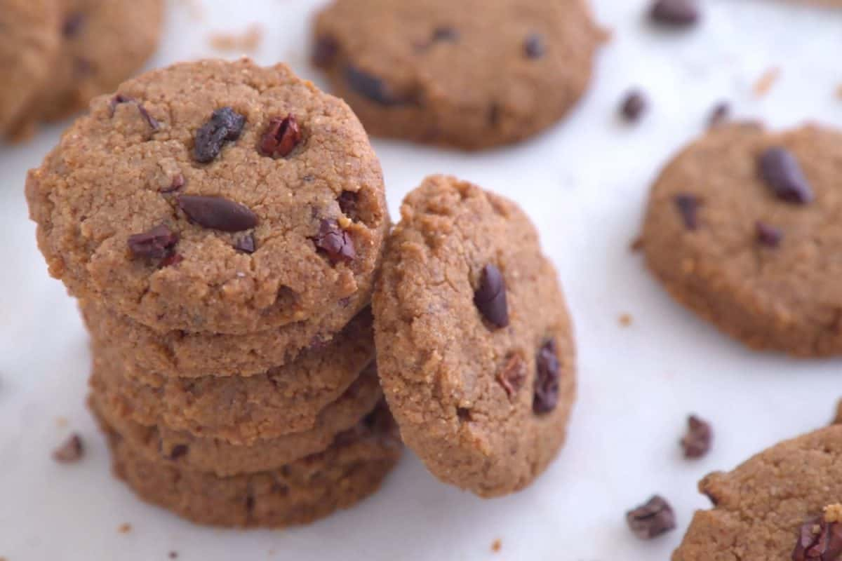 Stack of almond butter chocolate bean cookies