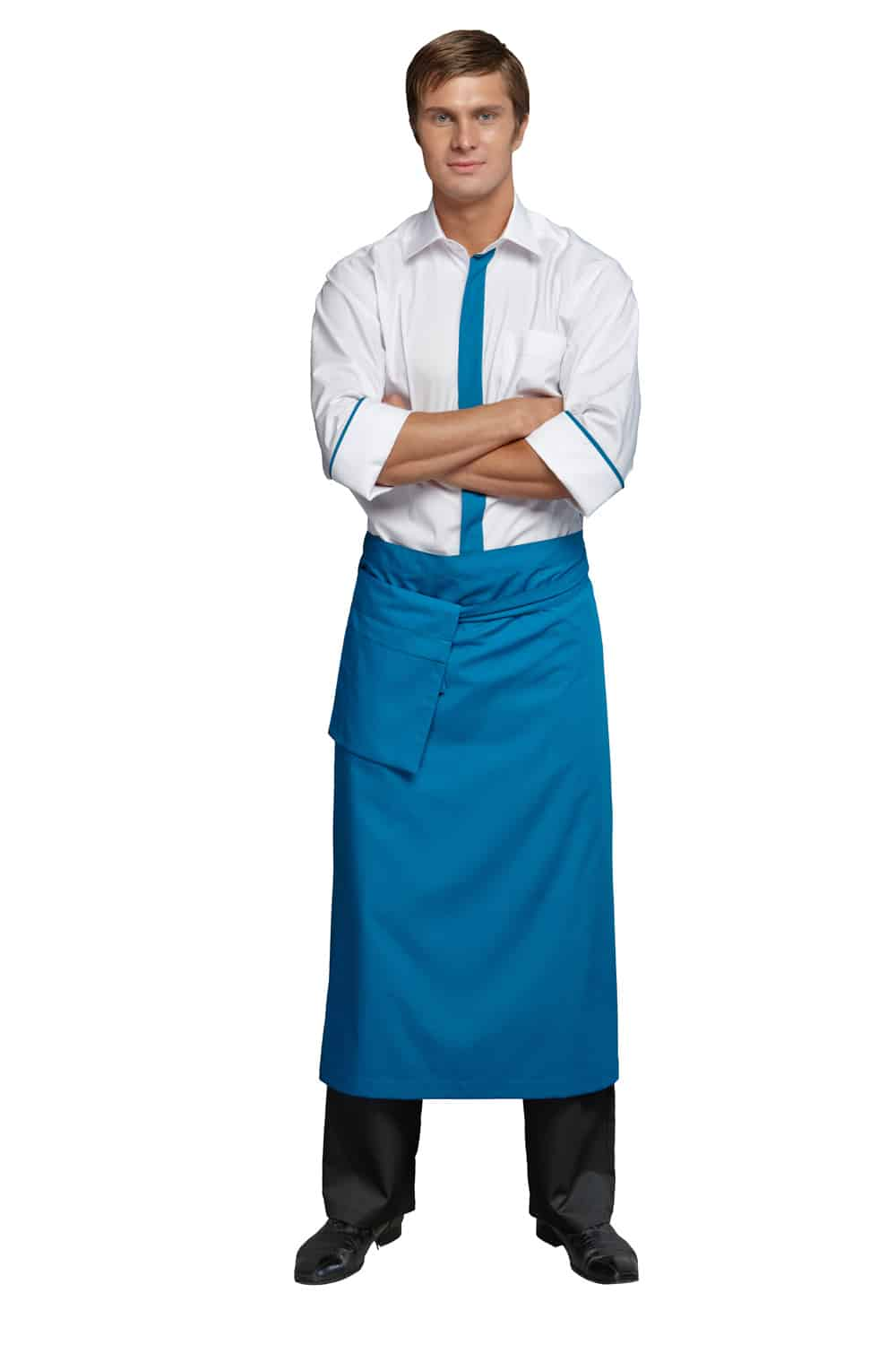 Young man in the form of a waiter or chef, white shirt, blue apron, black pants