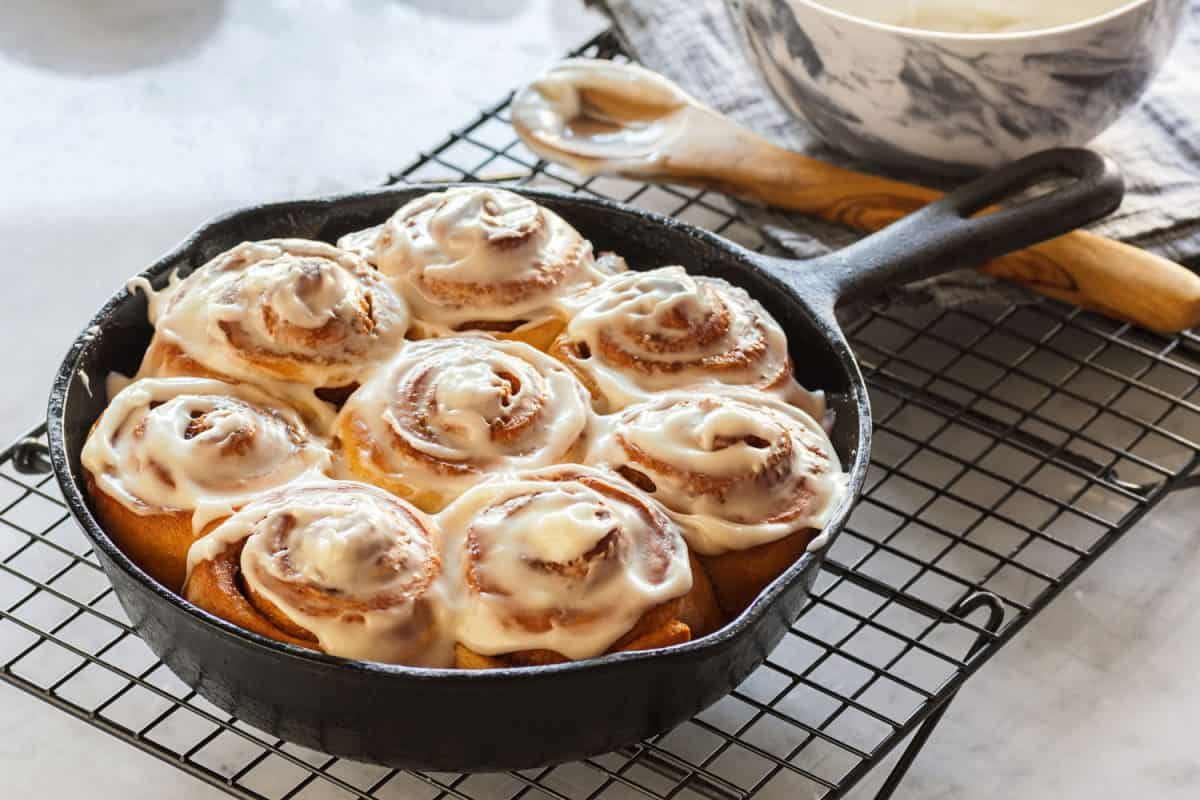 Yummy and delicious fresh oven cooked cinnamon rolls