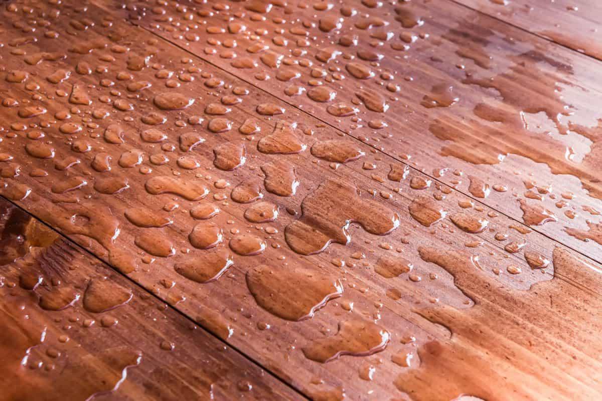 A hardwood kitchen flooring with waterproofing