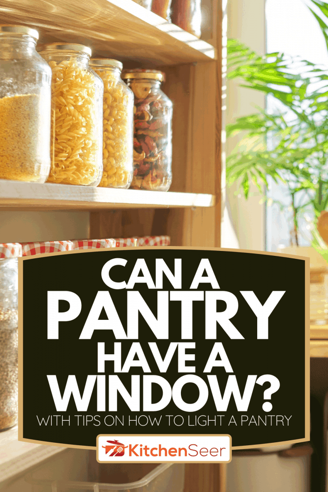 Kitchen utensils, sunflower oil on wooden table in pantry at home, Can A Pantry Have A Window? [With Tips On How To Light A Pantry]