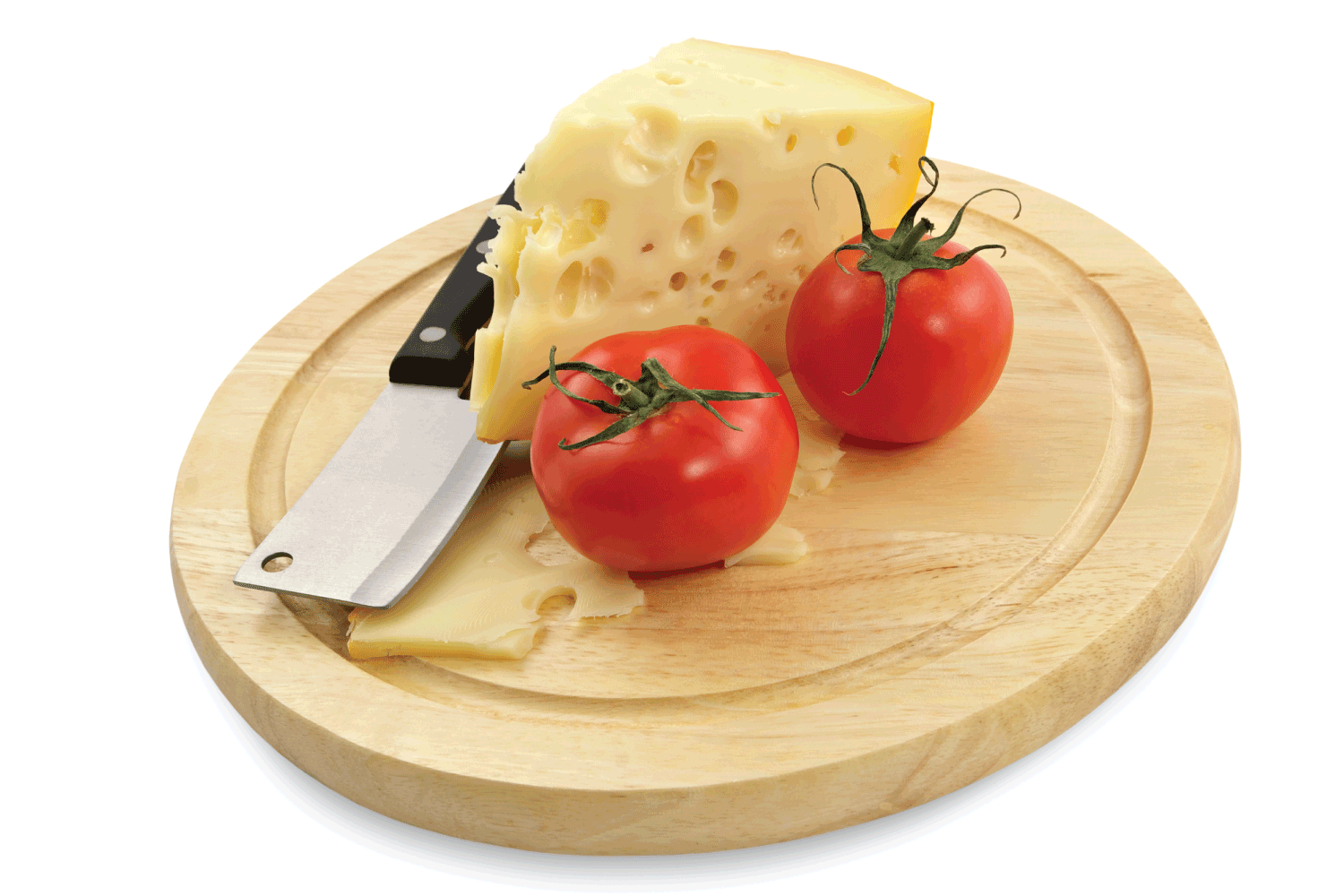Cheese and fresh tomatoes on a wooden board