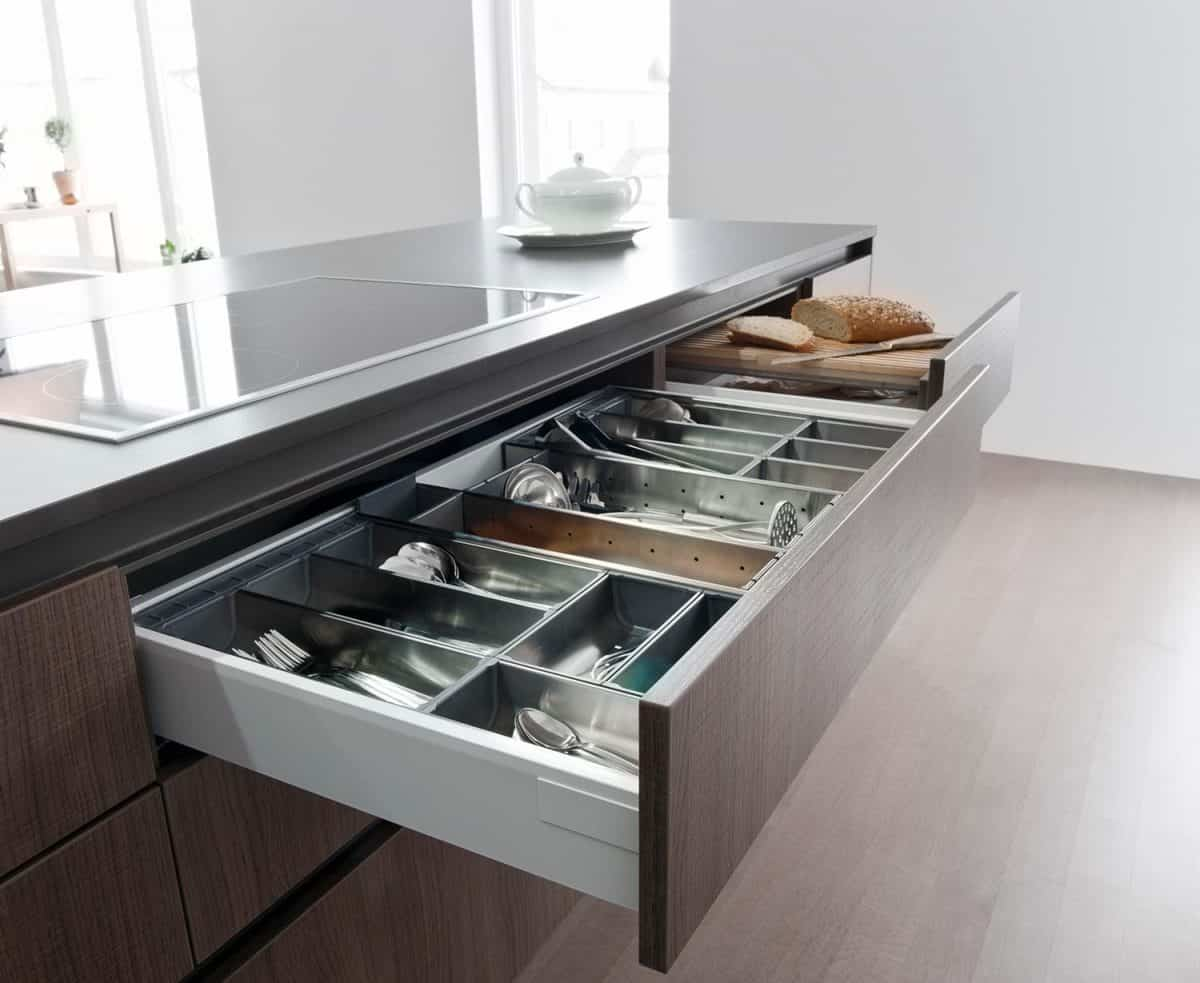 Close up shot of cutlery drawer