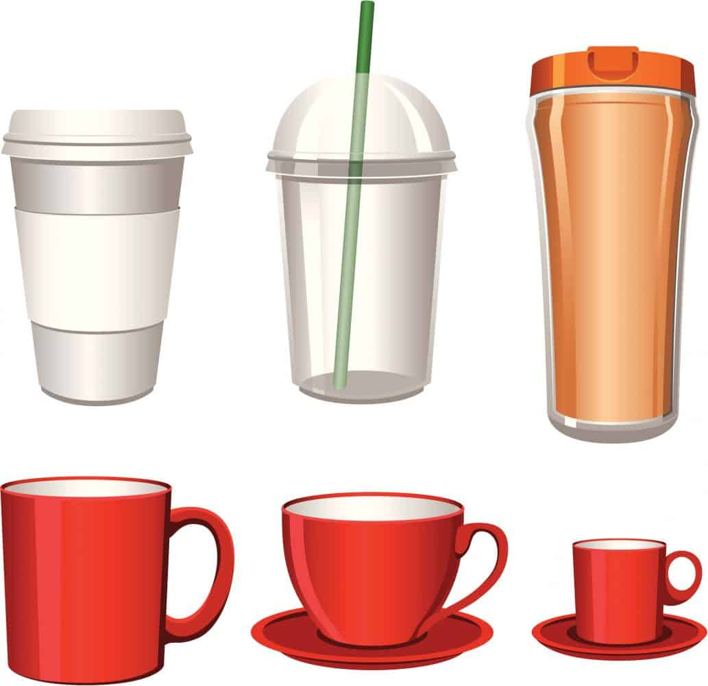 Different sizes of cups illustration