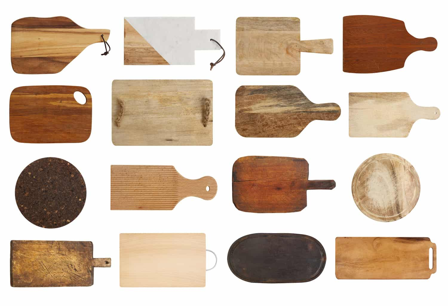 Empty cutting boards isolated on white