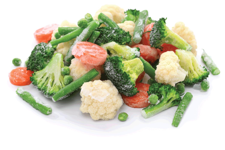 Frozen broccoli, carrots, peas, cauliflower, and green beans