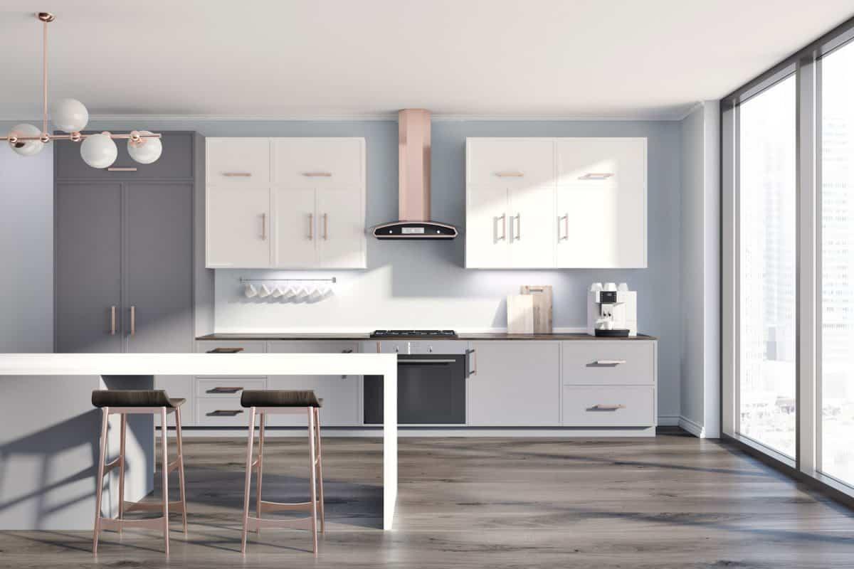Gray kitchen interior, table