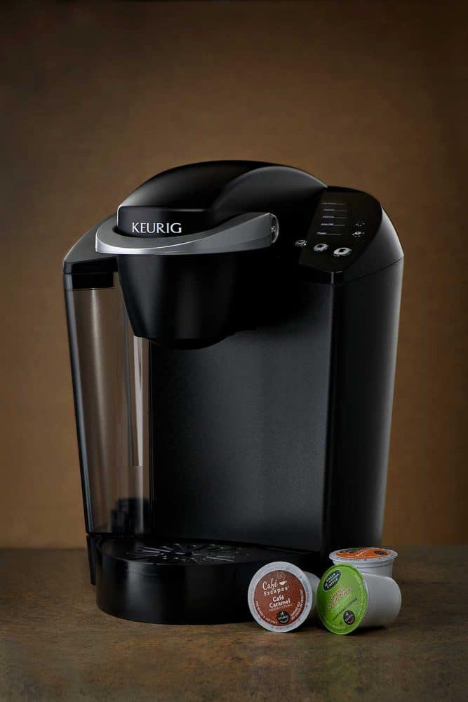 Keurig k-cup coffee maker with three k-cup pods