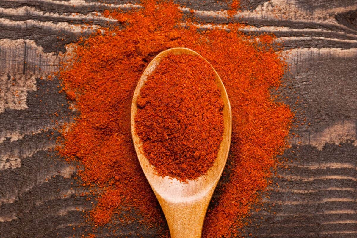 Paprika on a small wooden chopping board
