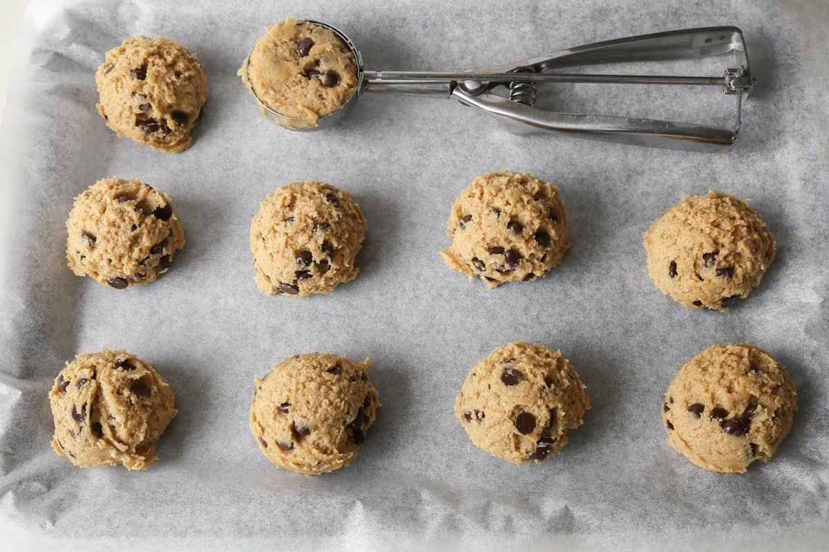 Chocolate chip coconut cookie dough
