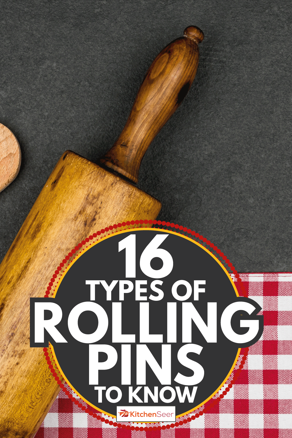 Rolling pin with wooden spoon on a slate plate. 16 Types Of Rolling Pins To Know