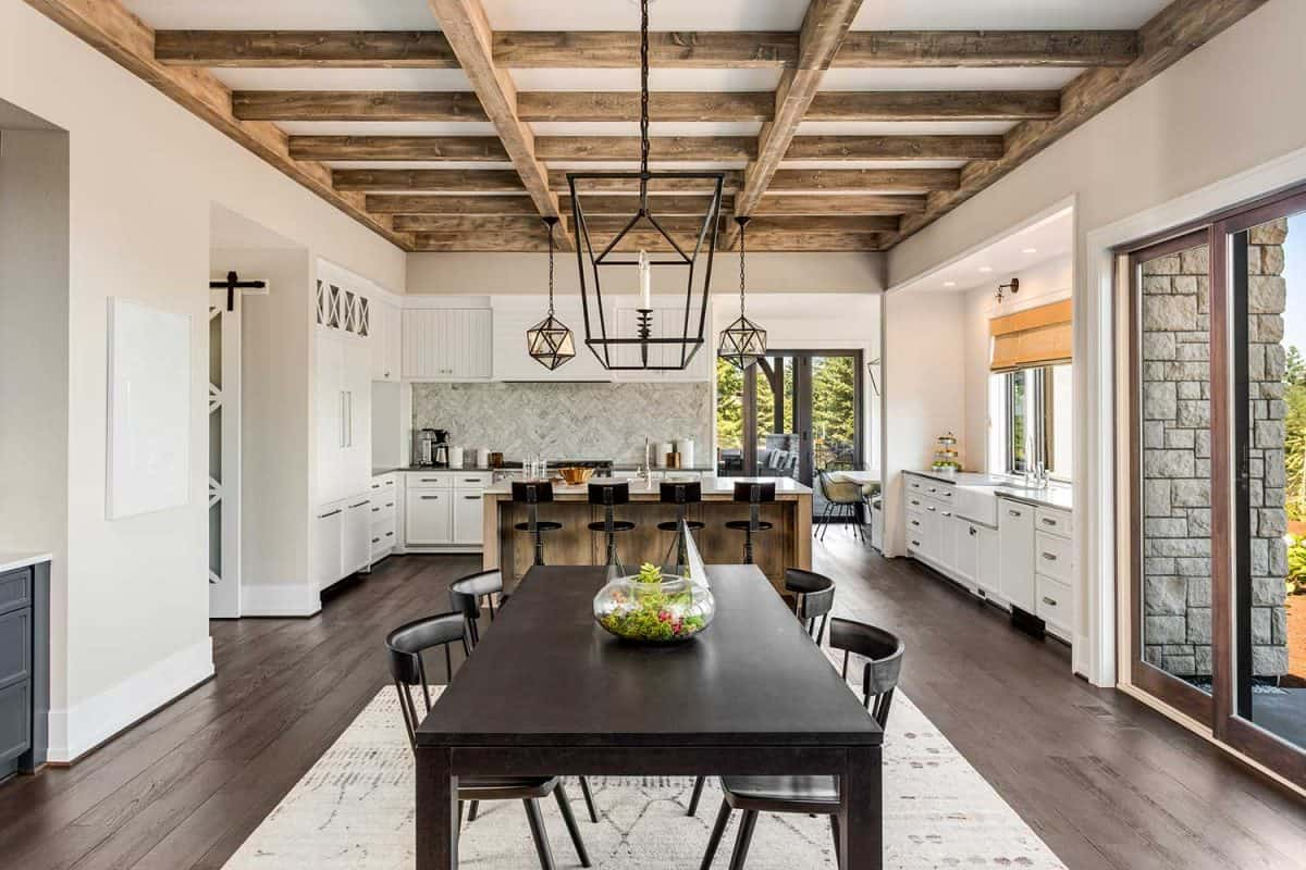 Stunning kitchen and dining room in new luxury home