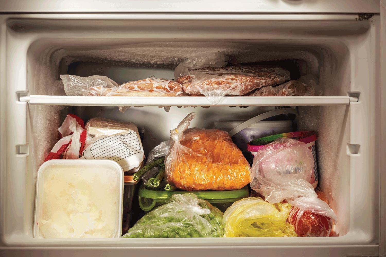 Various frozen food in freezer