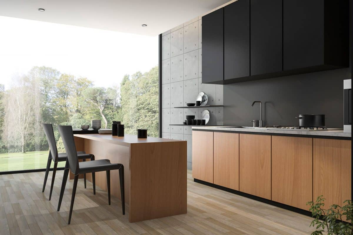 modern black kitchen with wood built, Should The Kitchen Floor Be Darker Than The Cabinets?