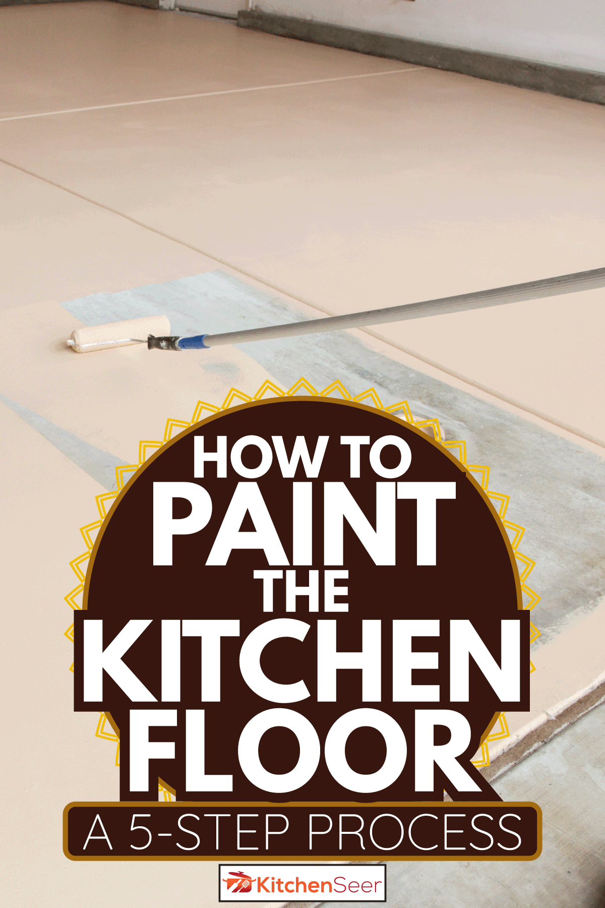 worker using a paint roller with extension to paint the kitchen floor. How To Paint The Kitchen Floor [A 5-Step Process]