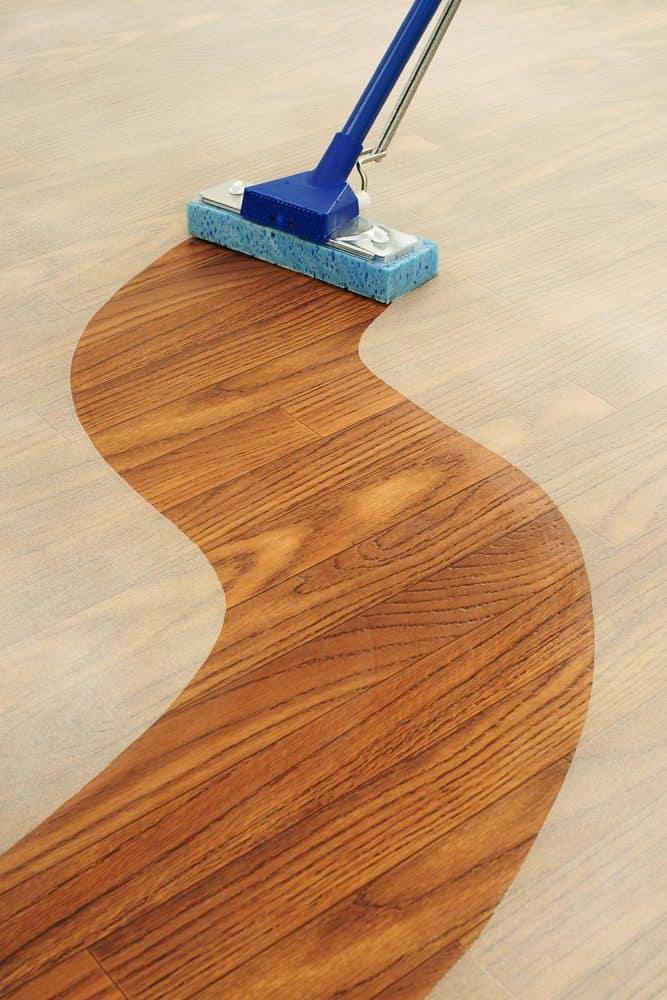 A sponge mop cleaning a path across a dusty wood floor