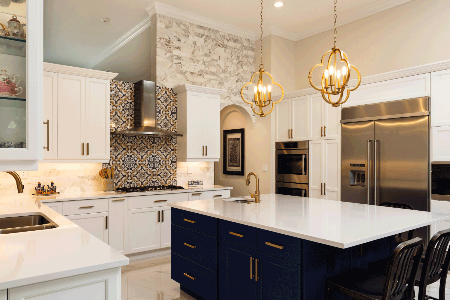 Beautiful luxury estate home kitchen with white cabinets. navy luxury concept