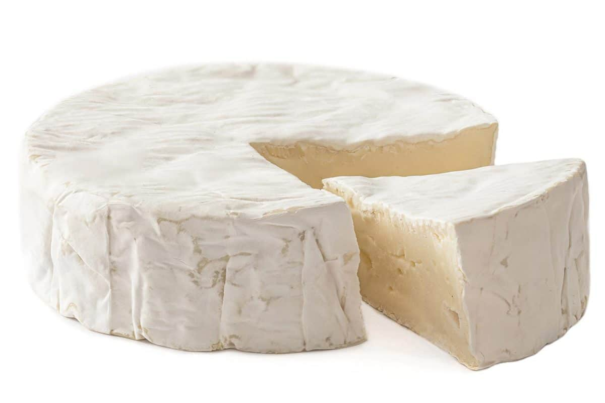 Brie cheese has been slice into small pieces