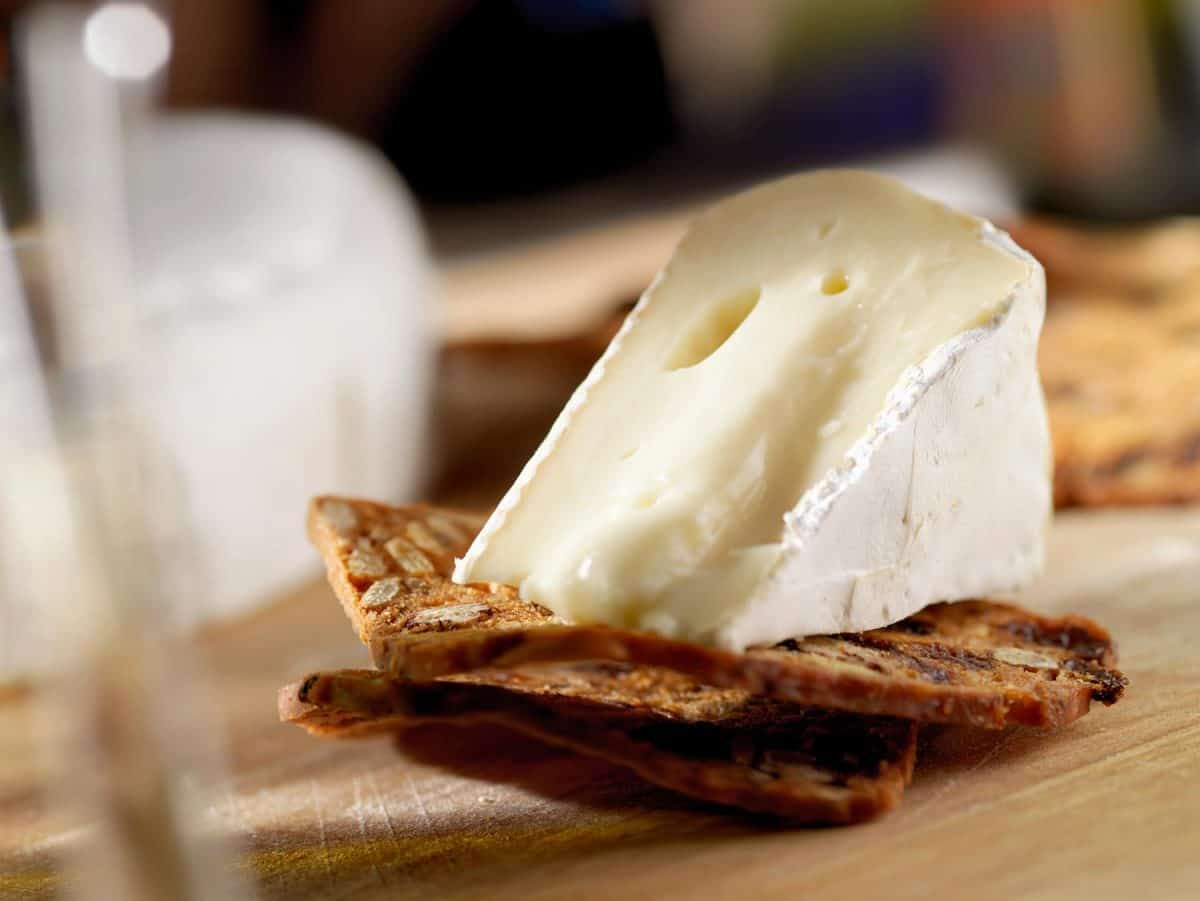 Brie cheese on crackers