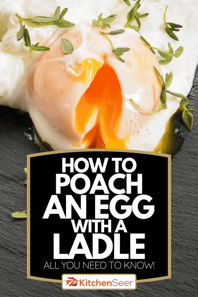 An open organic poached egg with thyme on slate, How To Poach An Egg With A Ladle - All You Need To Know!
