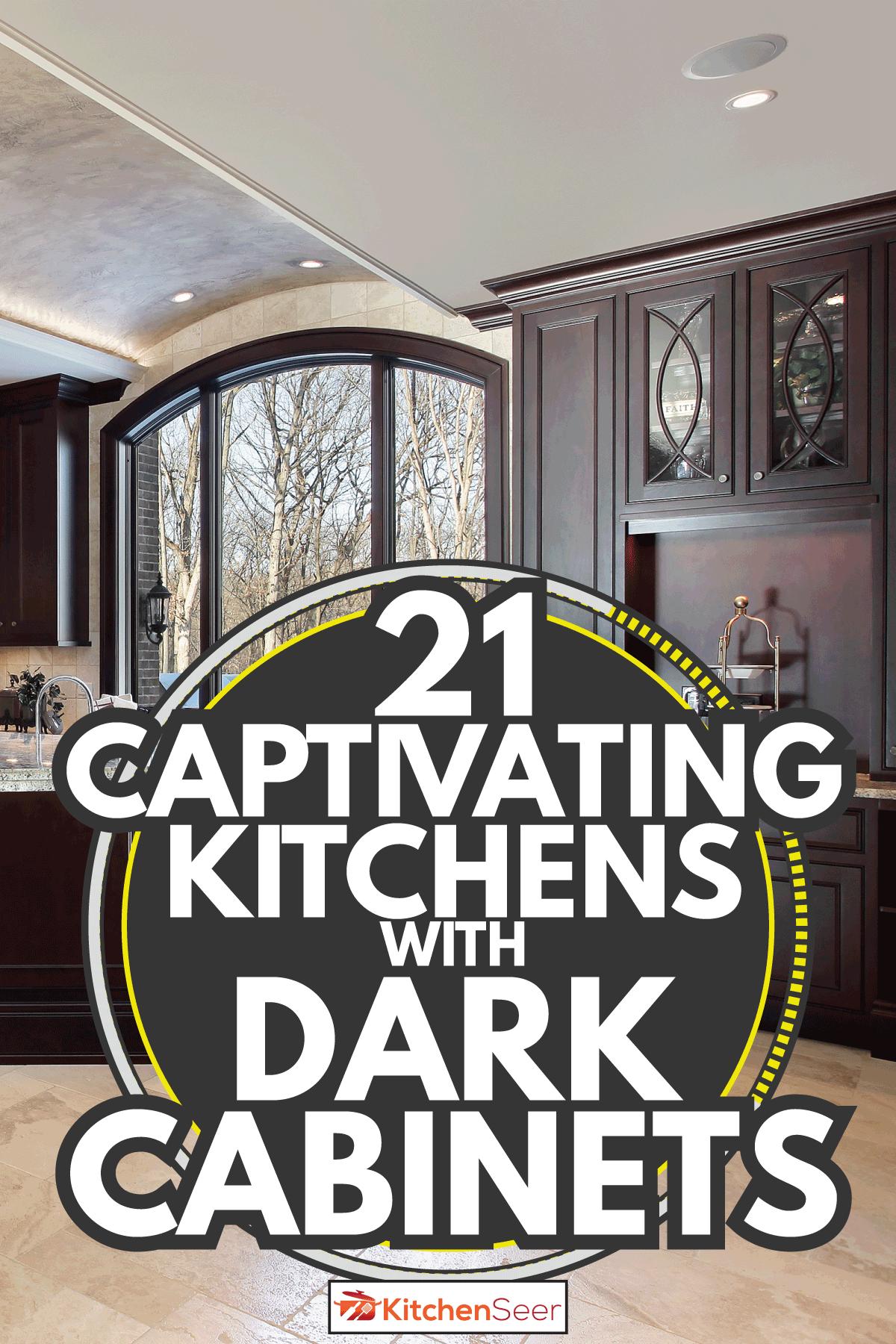 Large kitchen in luxury home with dark wooden cabinets. 21 Captivating Kitchens With Dark Cabinets