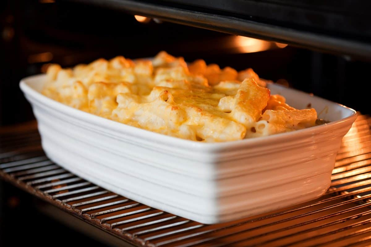 Macaroni and cheese grilling in an oven.