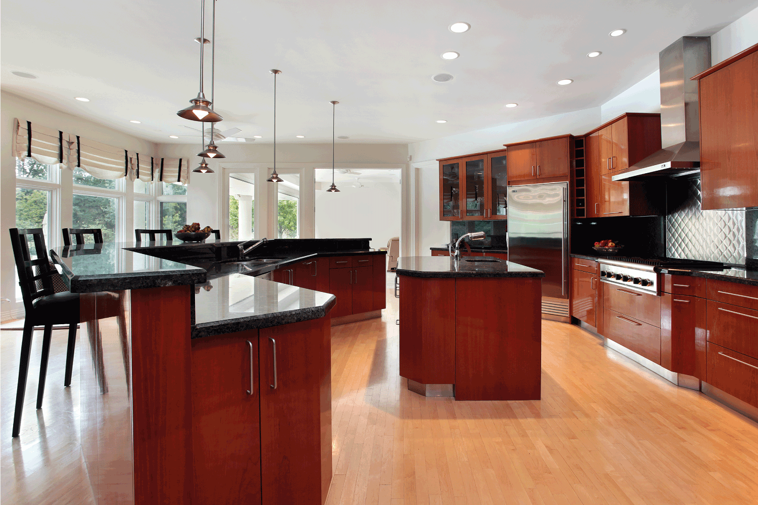 Modern kitchen with dark gray granite counters. black and red concept