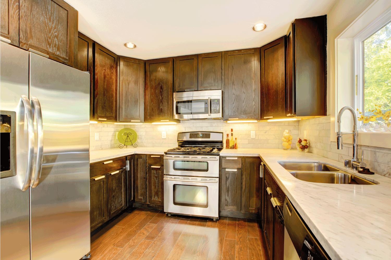 Modern luxury new dark brown and white kitchen, dark and light concept