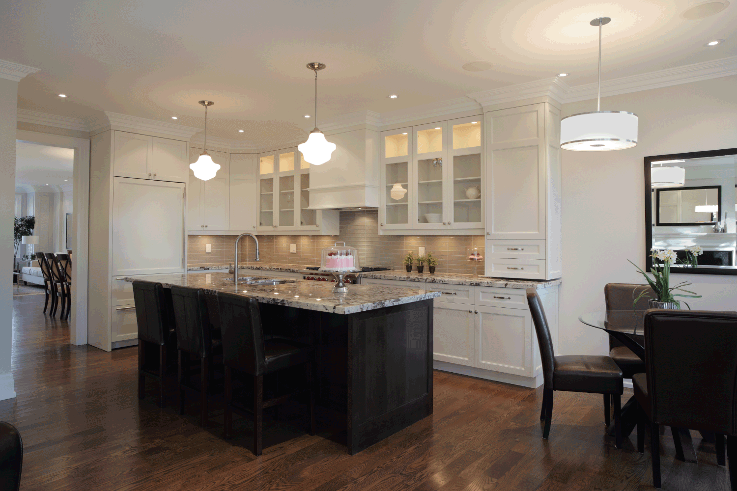 New Luxury Home Kitchen and breakfast room. white and black concept