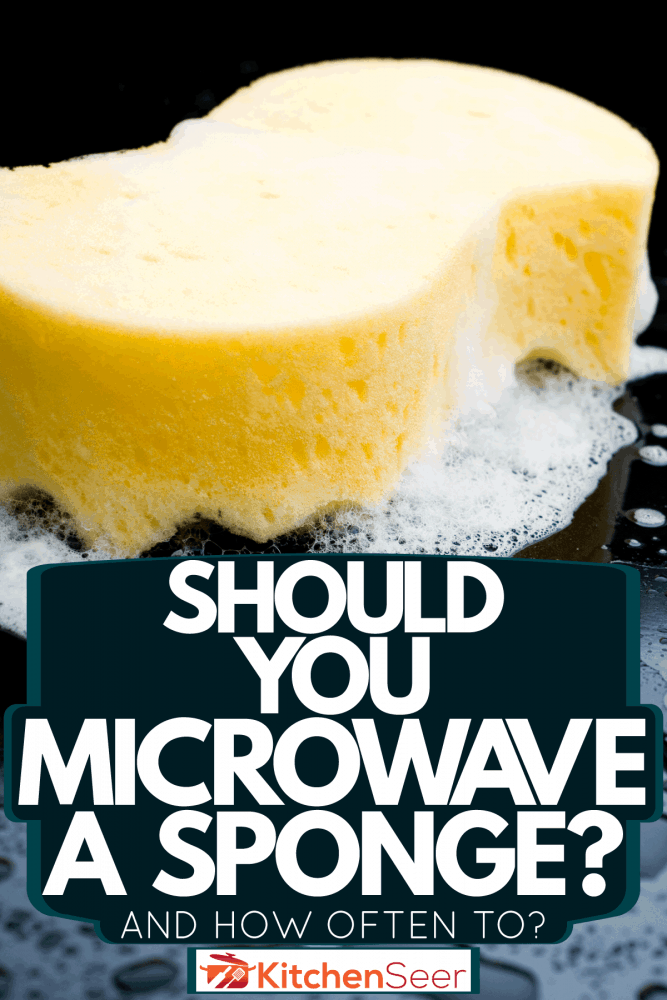 A sponge with bubbles used in cleaning the black tiles, Should You Microwave A Sponge? [And How Often To]