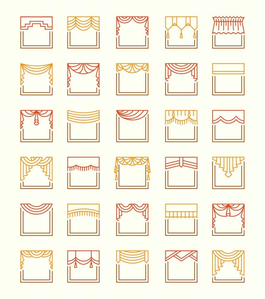 Vector line icons of valances and pelmets