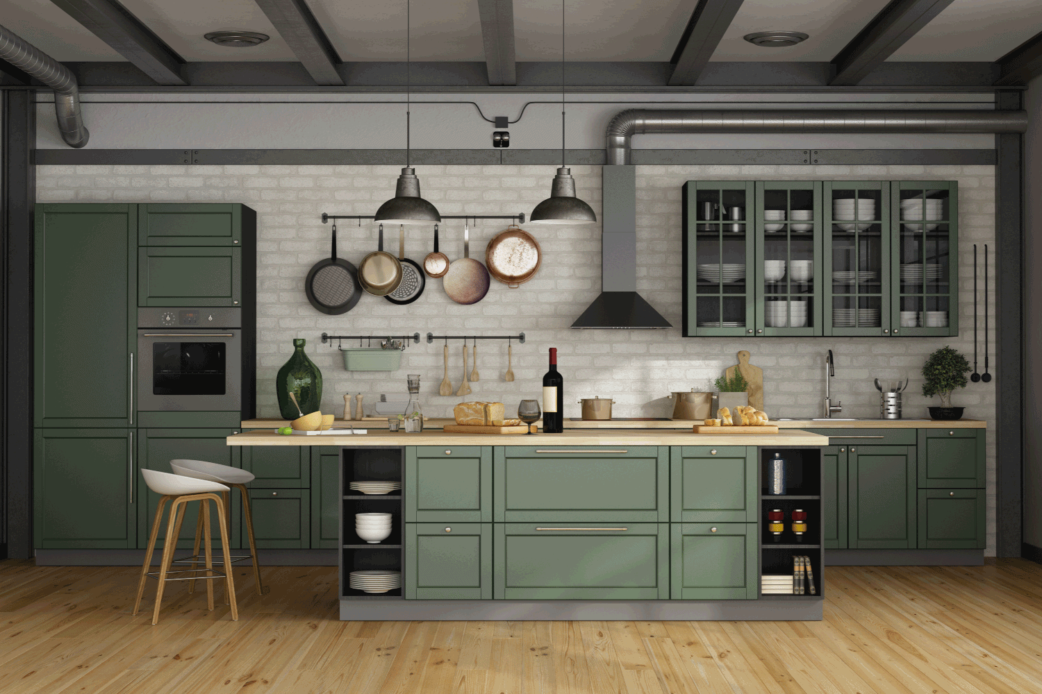 Vintage green kitchen with island in a loft
