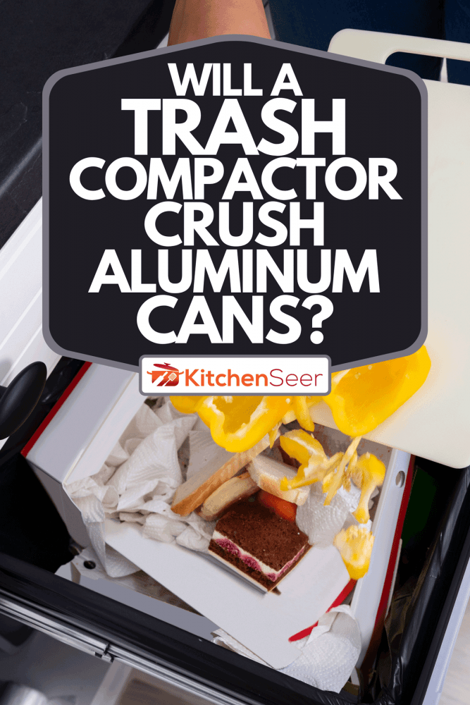 A close-up of a woman throwing vegetables in a trash bin, Will A Trash Compactor Crush Aluminum Cans?