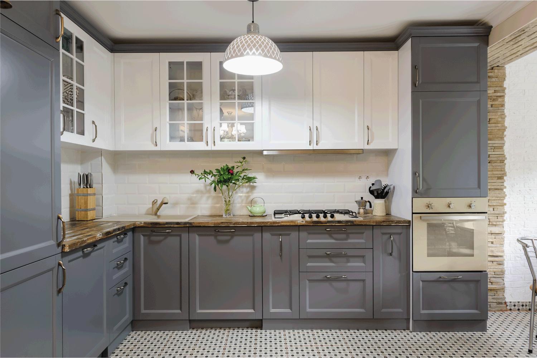 interior of modern luxury grey and white wooden kitchen