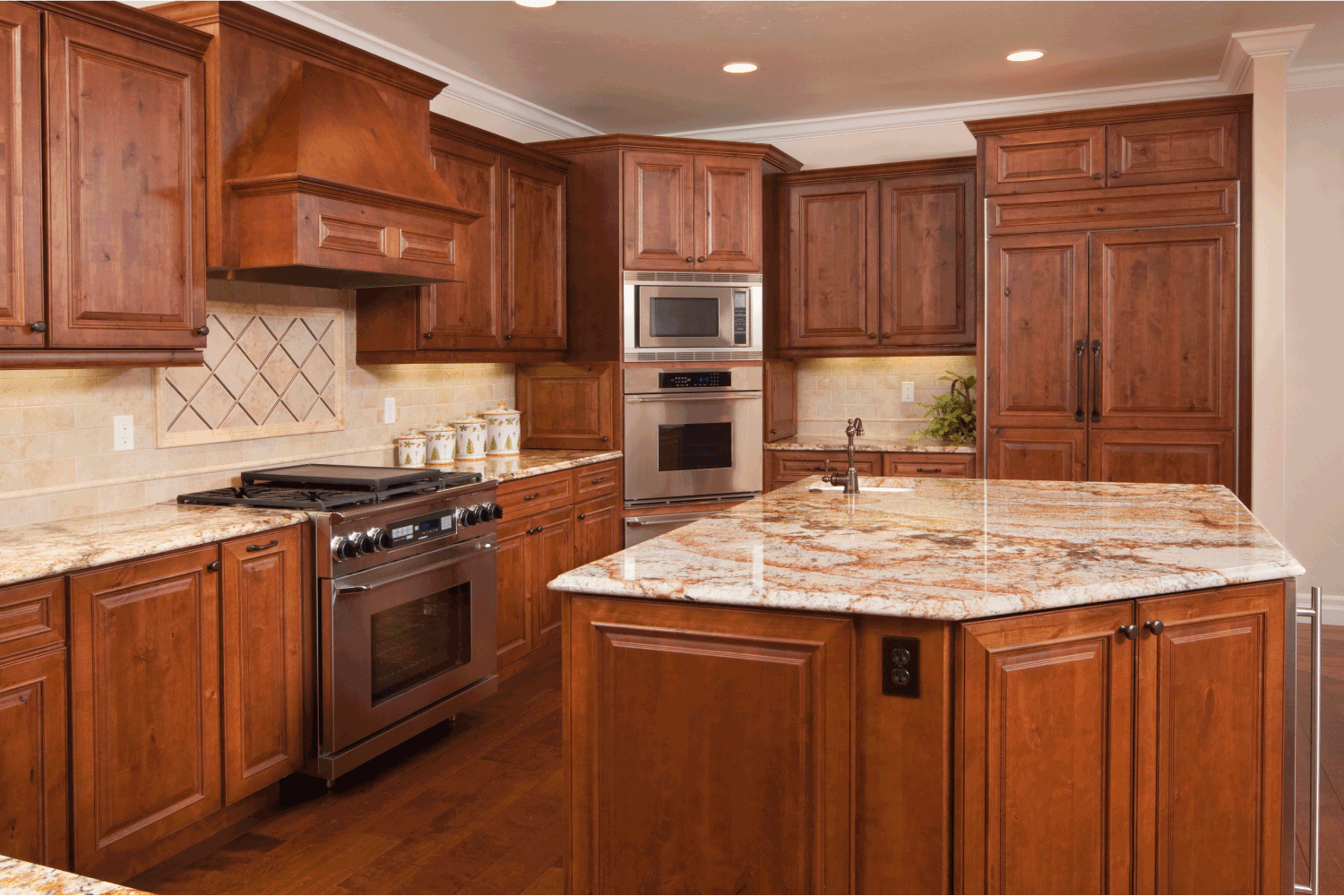 wood and subtle pinks on kitchen cabinets