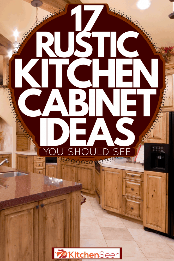A rustic interior kitchen with bright chandeliers and oak cabinets matching the exposed ceiling membrane, 17 Rustic Kitchen Cabinets Ideas You Should See