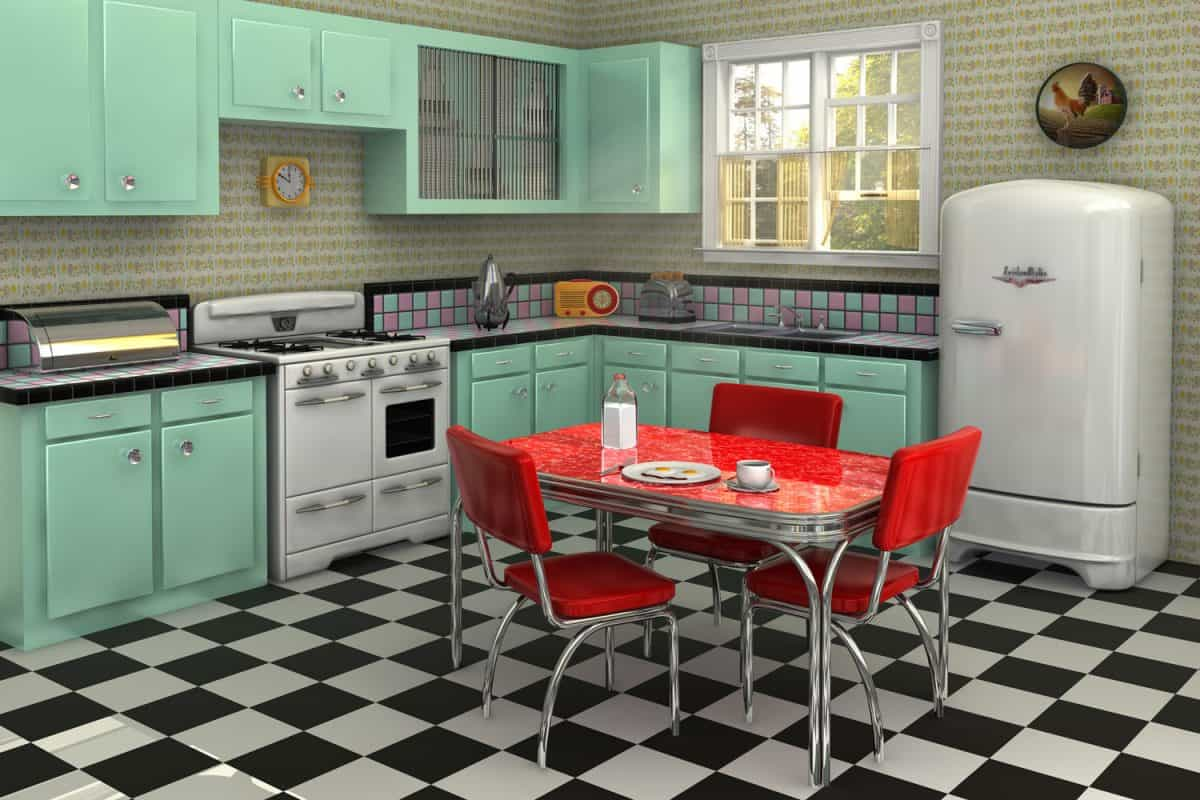 A retro inspired kitchen with cyan colored cabinets, red retro chairs and tables and checkered flooring