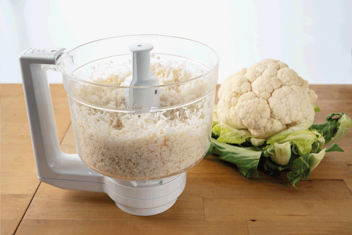 Cauliflower shredded in a food processor for healthy low carb pizza crust, Which Cuisinart Food Processor Should You Buy [Inc. The Largest, The Smallest And More]