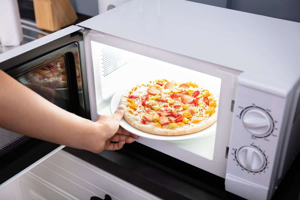 Close-up Of A Happy Woman reheating Pizza In Microwave Oven, How To Reheat Pizza In The Microwave
