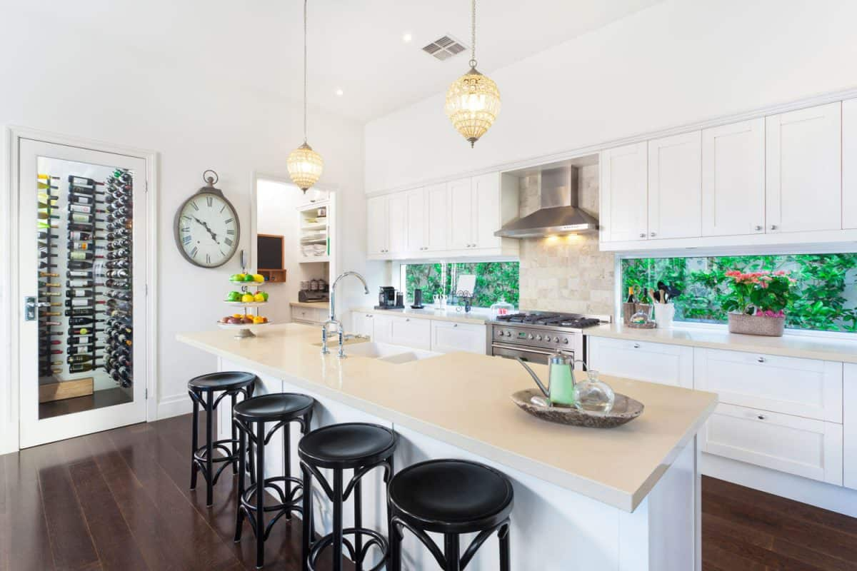 Contemporary Kitchen with kitchen cabinets, How To Fill A Gap Between Kitchen Cabinets And Wall