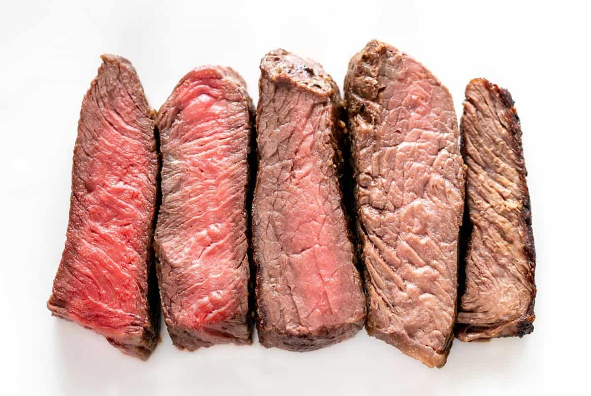 Degrees of doneness from rare to well done of beef steak