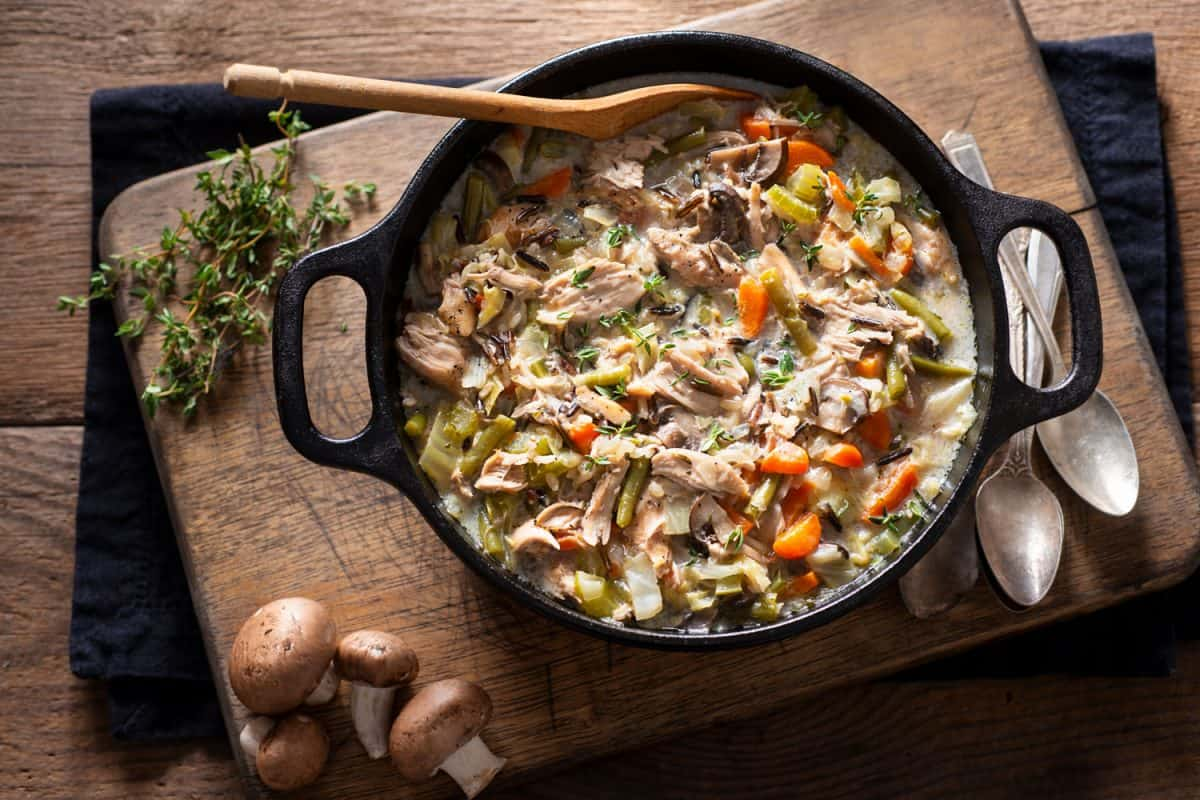 Delicious chicken and wild rice dish on the dutch oven