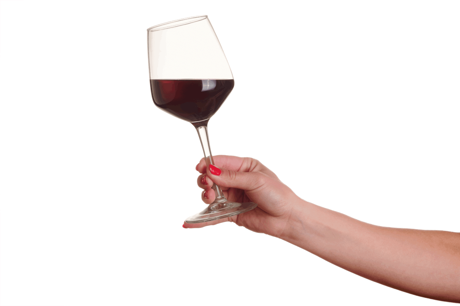 Female hand with red wine glass