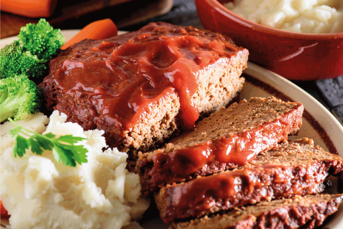 Fresh baked tomato glazed meatloaf served with mashed potato. How Long Does It Take To Cook Meatloaf