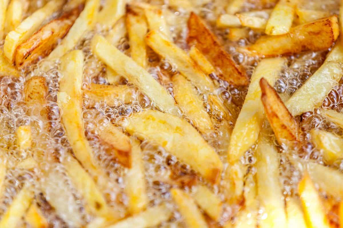 Homemade french fries in hot oil