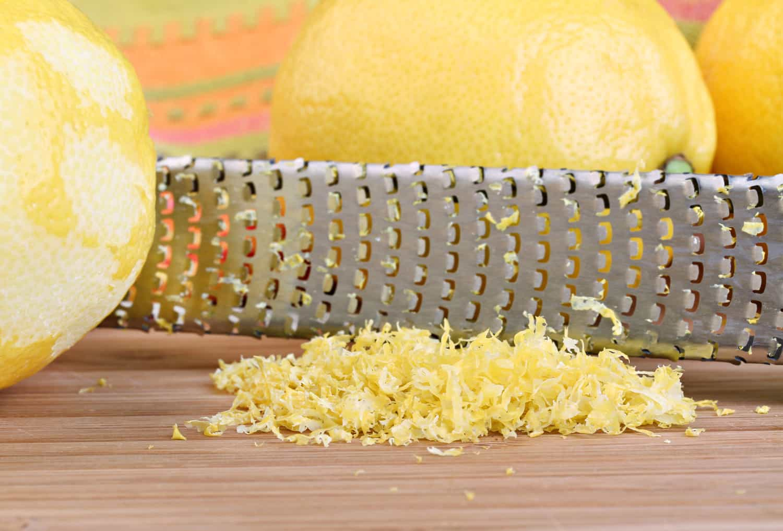Lemon zest in macro with selective focus on zest