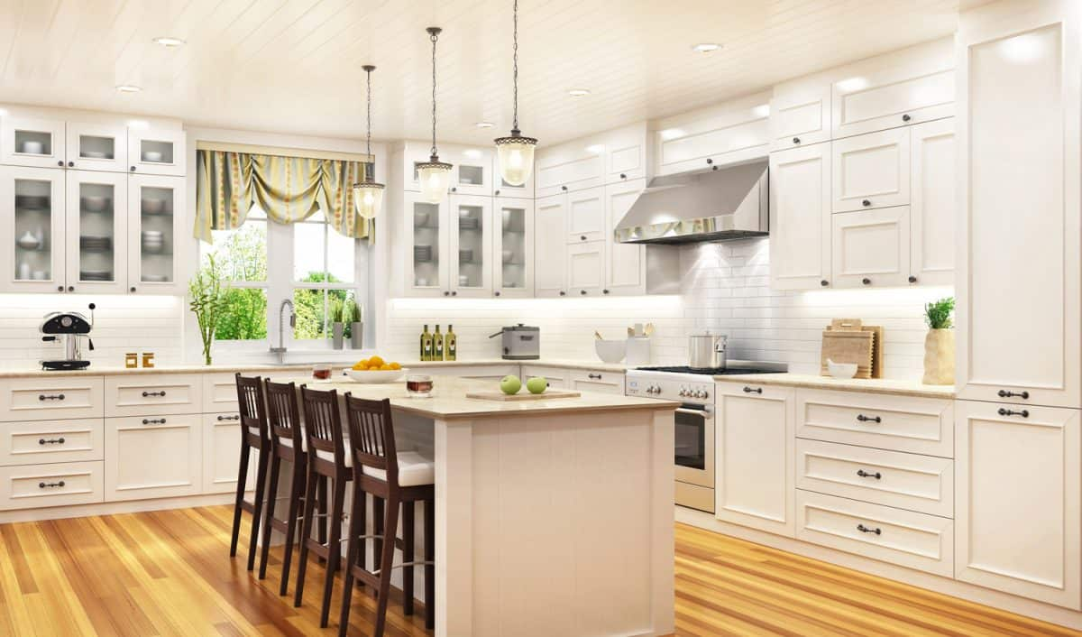 Luxurious white kitchen in a large beautiful
